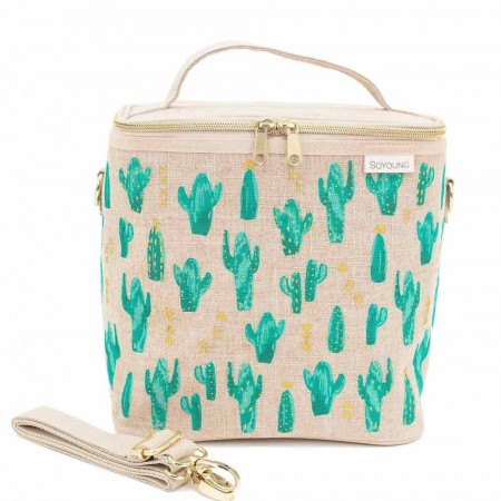 SoYoung Large Raw Linen Lunch Poche Insulated Cooler Bag - Cacti Desert