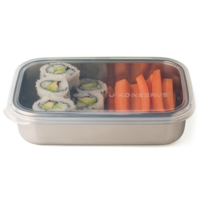 U Konserve Rectangle Container with Divider 25oz/740ml - Clear Silicone