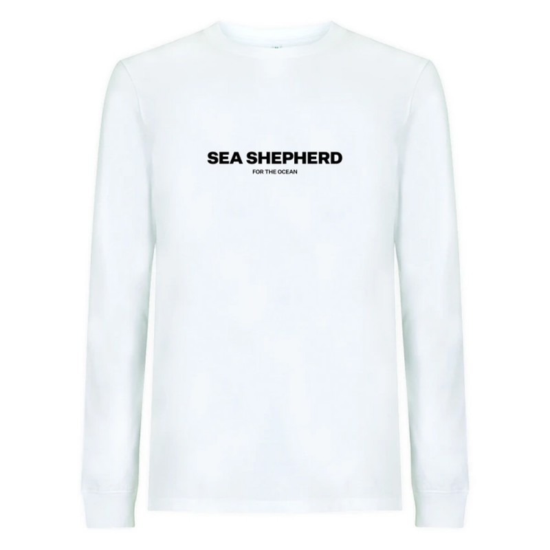 Sea Shepherd Stand Fast Unisex Embroidered Long Sleeve Tee - White