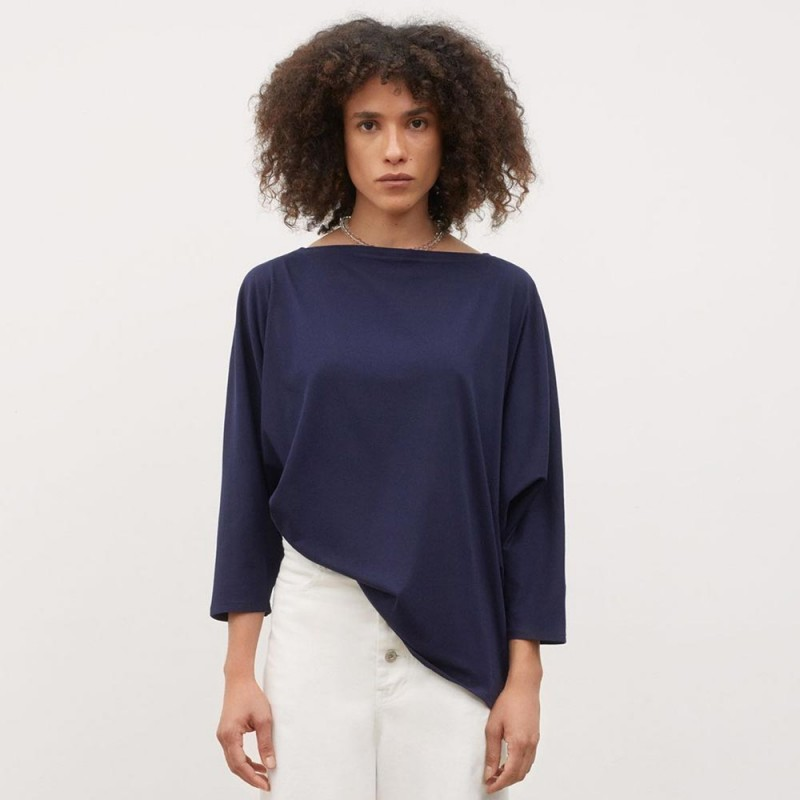 Kowtow Relaxed Boat Neck Top - Navy