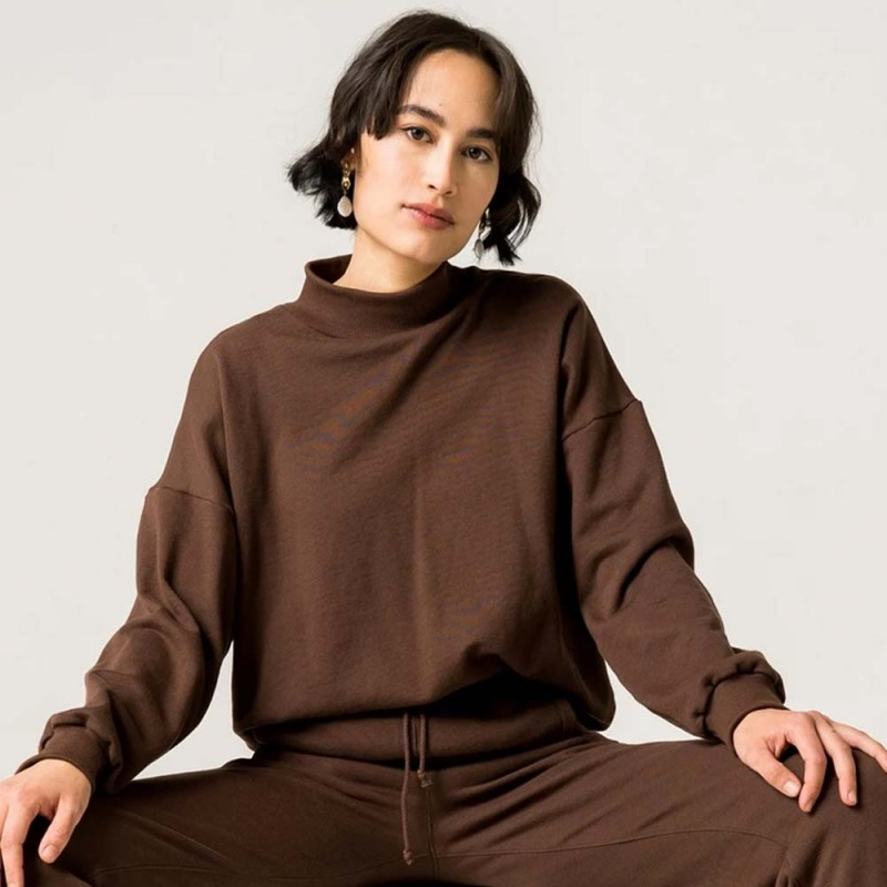 Form By T Bess Organic Cotton Sweater - Chocolate