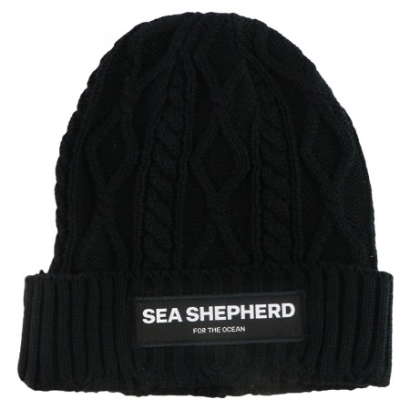 Sea Shepherd Stand Fast Organic Cotton Cable Beanie - Black