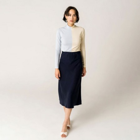Form By T Peggy Bias Skirt - Navy