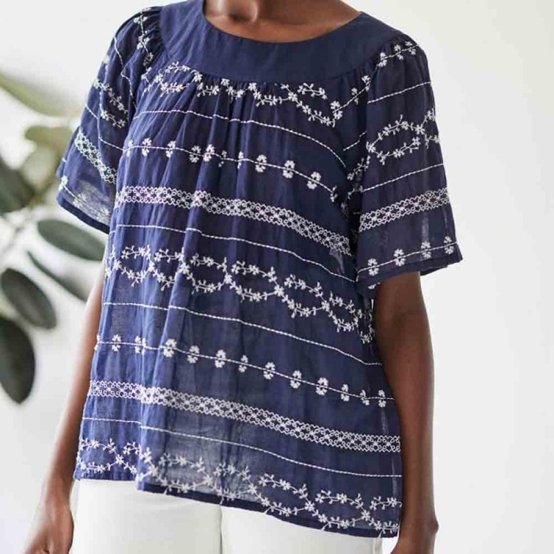 Thought Valentina Embroidered Top - Navy
