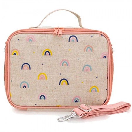 SoYoung Raw Linen Insulated Lunch Box - Neo Rainbow