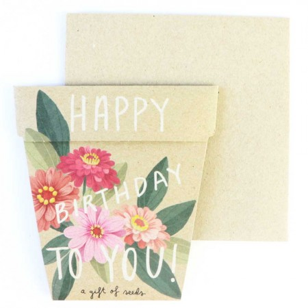 Sow 'n Sow gift of Seeds Greeting Card - Happy Birthday Zinnia