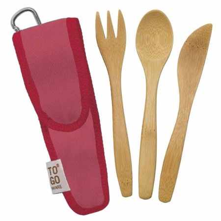 To-Go Ware Kids Bamboo Utensil Set - Melon Pink