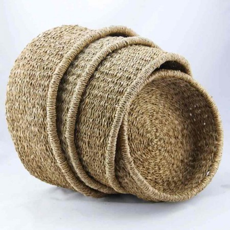 Woven Seagrass Low Round Baskets - Set of 4