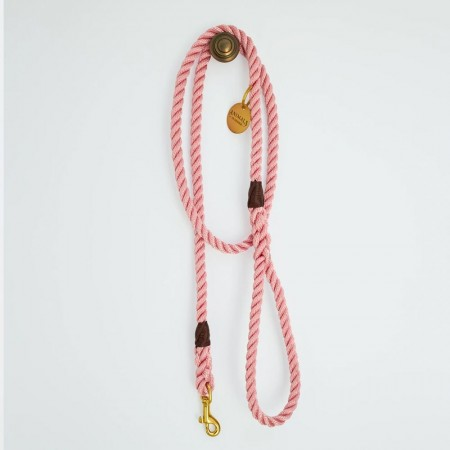 Animals In Charge All Weather Rope Leash - Rose Pink Brass