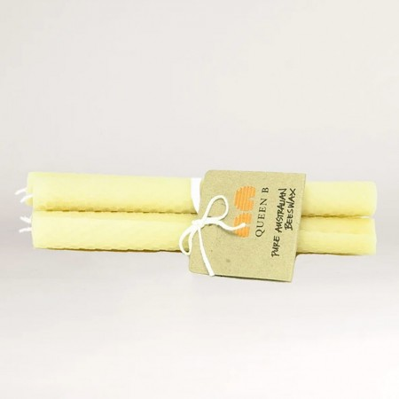 Queen B Hand Rolled Honeycomb Taper Candles 4pk - 20cm/6hr Burn Time
