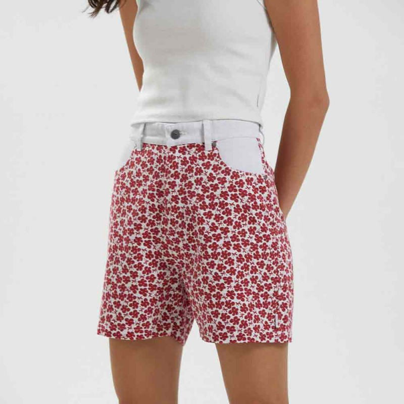 Afends Shelby - Hemp Printed Cut Off Short - Red