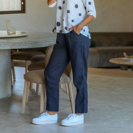 Naturals by O & J Classic Linen Pant - Navy