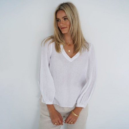 Humidity Promise Linen Blouse - White
