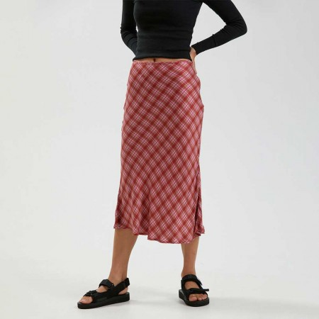 Afends Janey Recycled Midi Skirt - Red