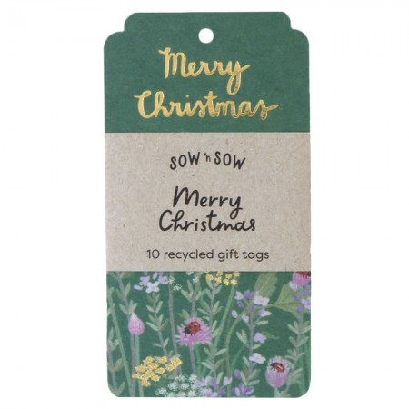 Sow 'n Sow Recycled Christmas Herb Gift Tag 10pk - Merry Christmas