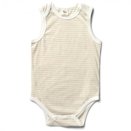 Fibre For Good Sleeveless Body Suit - Striped Natural/Sage