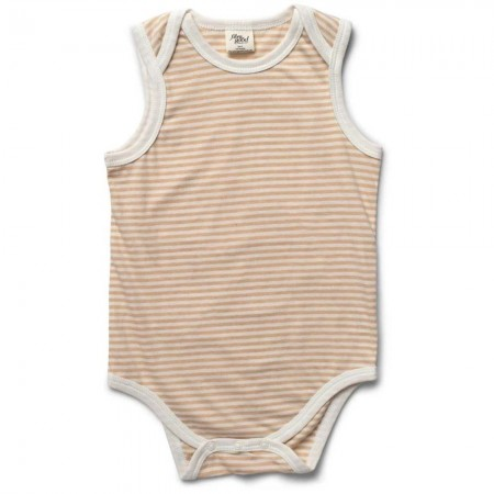 Fibre For Good Sleeveless Body Suit - Striped Natural/Wheat