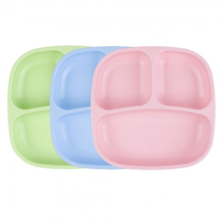 Re-Play Recycled Divided Plates (3pk) - Ice Blue, Pink & Leaf