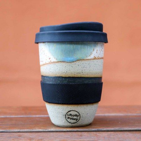 Lillypilly Pottery Ceramic Coffee Cup 12oz - Dip Dye Blue
