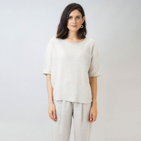 Naturals by O & J Linen Top - Gingham Sand