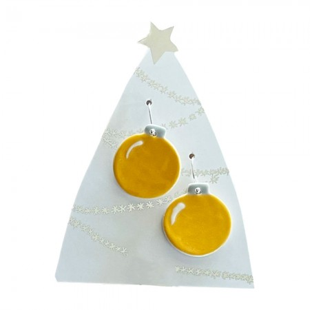 Paper Boat Press Bauble Hanging Earrings - Yellow