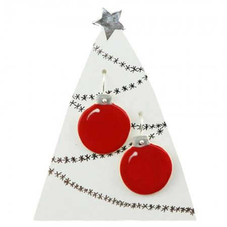Paper Boat Press Bauble Hanging Earrings - Red