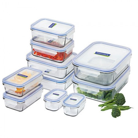 Glass container set 10 piece blue
