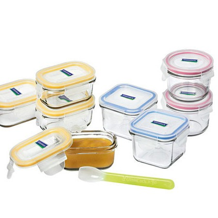 Glass baby feeding container set 9 piece