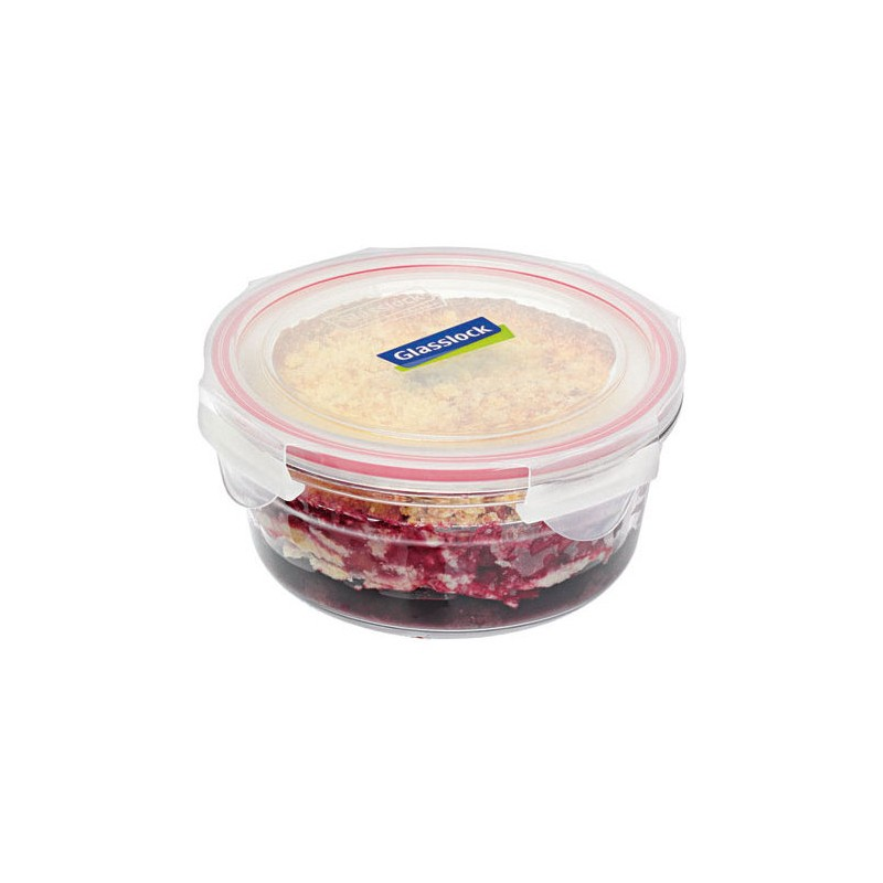 Oven safe glass container 1.5L round red