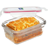 Oven safe glass container 1.7L rectangle red