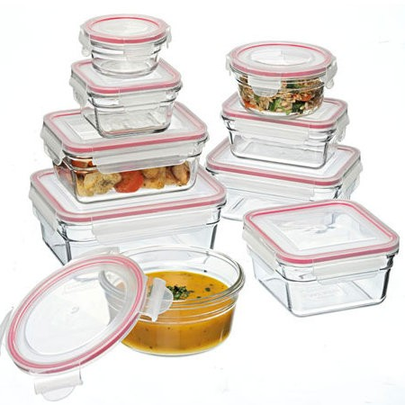 Glasslock Oven Safe container set 9 piece red
