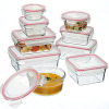 Oven safe glass container set 9 piece red