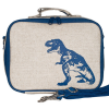 SoYoung Raw Linen Insulated Lunch Box - Blue Dinosaur