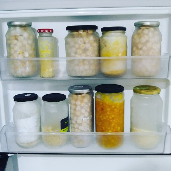 A peak inside Treading My Own Path's freezer, who loves to freeze food in glass.