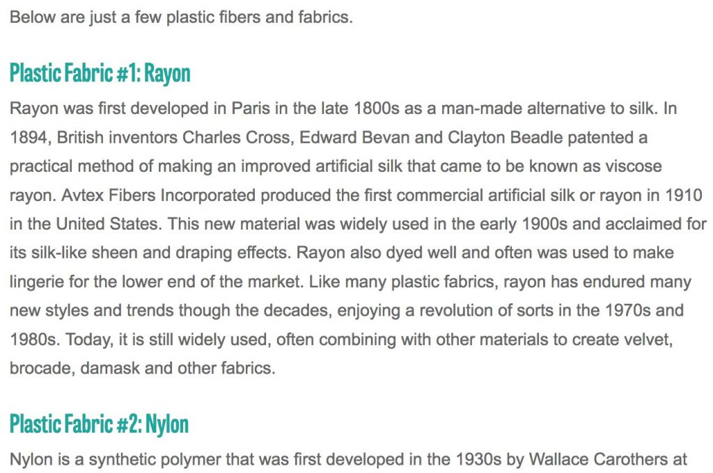 "Is ""Bamboo Fabric"" plastic? And Biome's purpose in stating it is. 