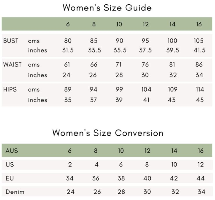 HCA women's sizing