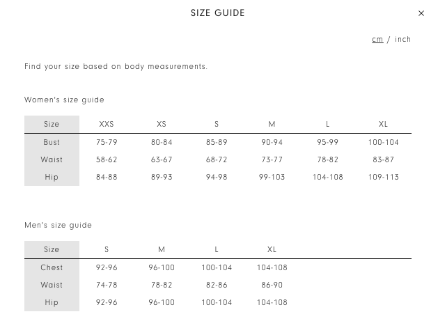 Kowtow Size Guide