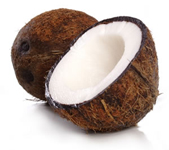 cut open coconut shell with white flesh - buy organic coconut oil