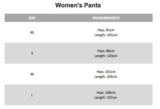cloth & Co pant sizes