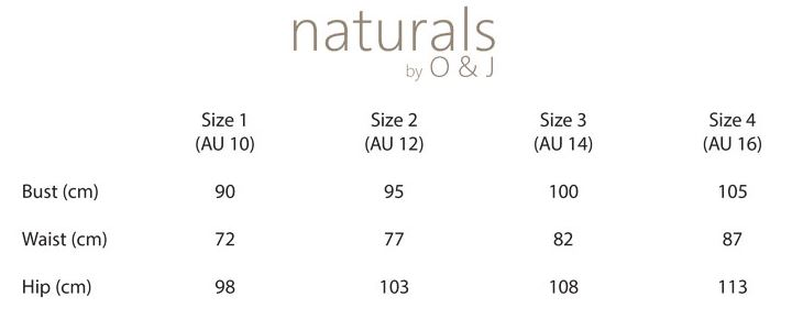 naturals by O&J sizes