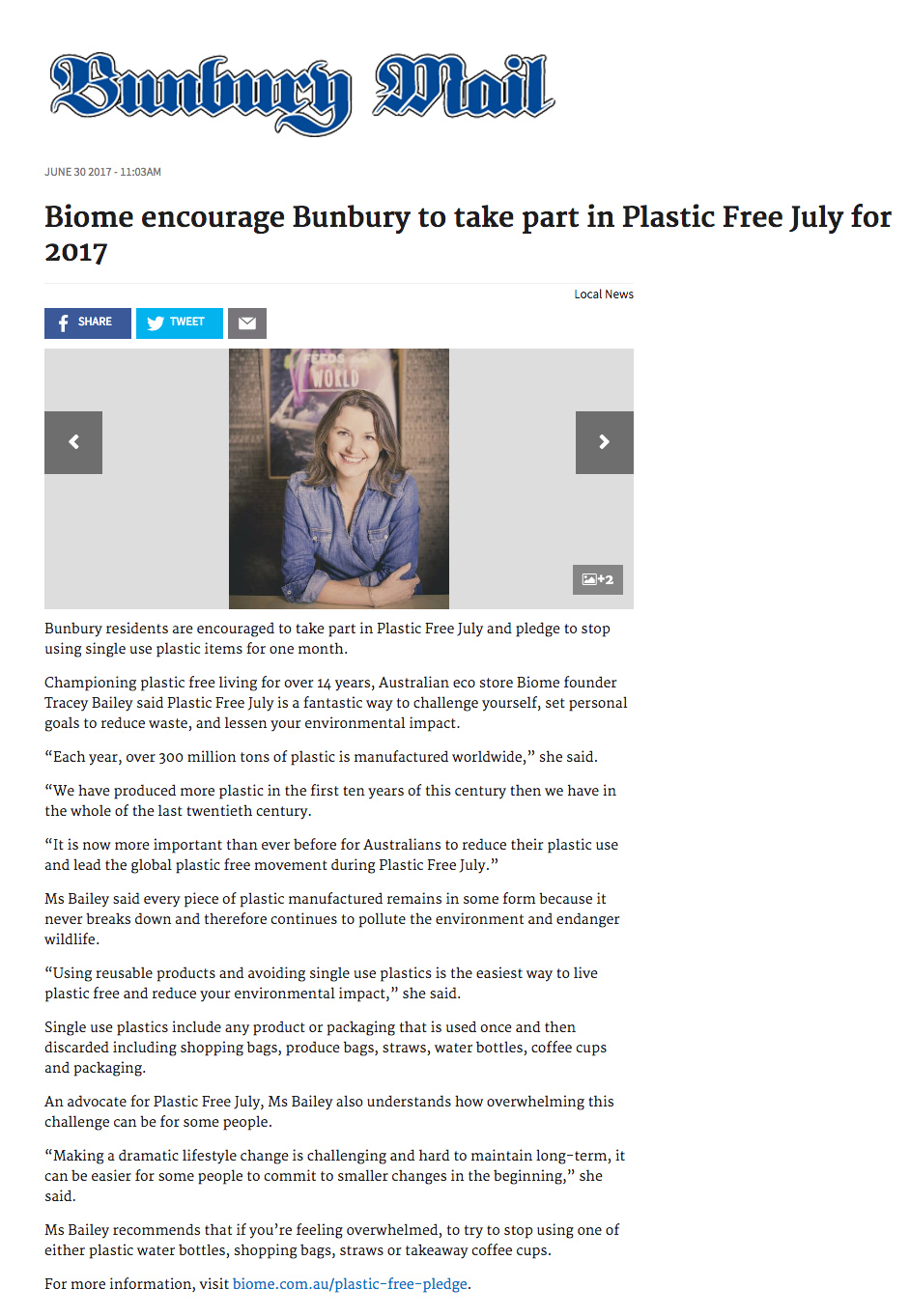 Biome encourage Bunbury to take part in Plastic Free July for 2017
