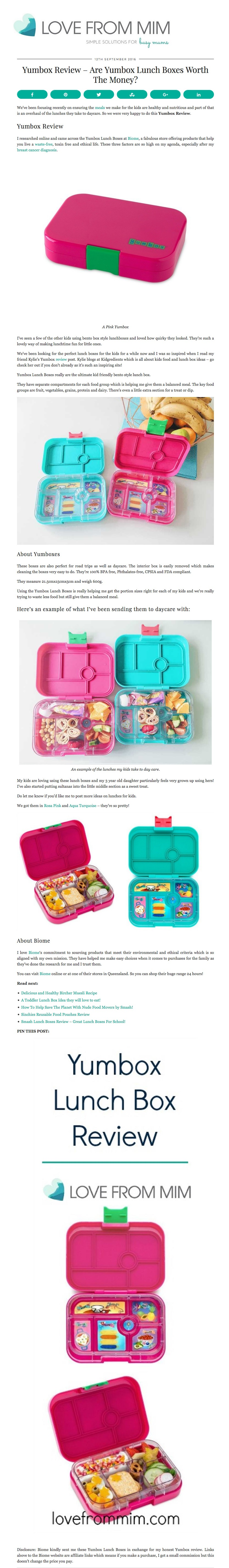 Yumbox Lunch Boxes from Biome