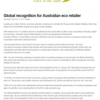 Global recognition for Australian eco retailer