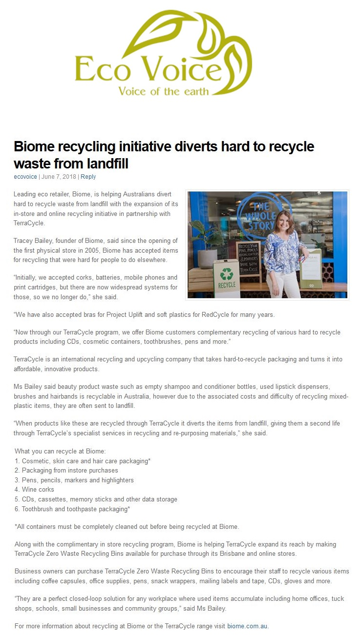 Biome recycling initiative diverts hard to recycle waste from landfill