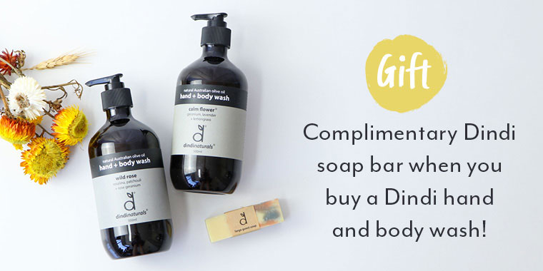 Complimentary Dindi soap bar when you buy a Dindi hand and body wash*