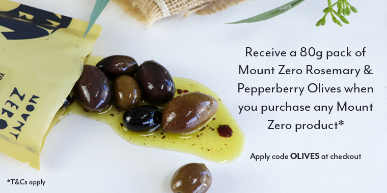 Free 80g pack of Mount Zero Olives with Mount Zero purchase