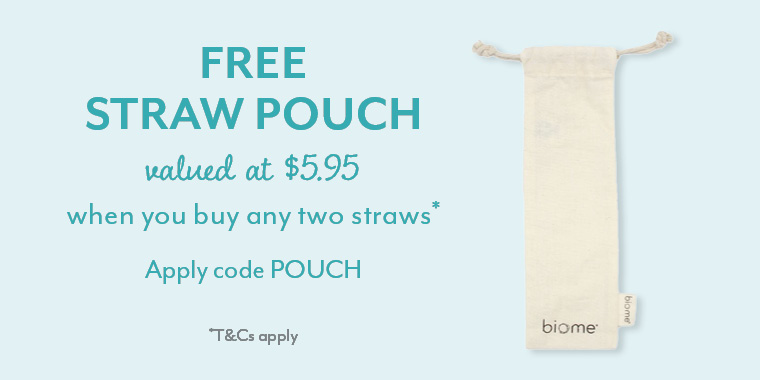 Free straw pouch with purchase of any 2 straws