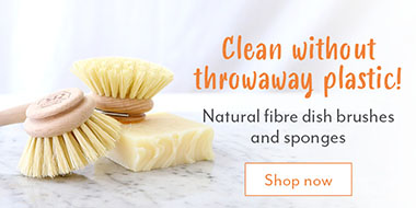 Natural fibre dish brushes and sponges