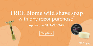 Free Biome wild shave soap with any razor purchase*