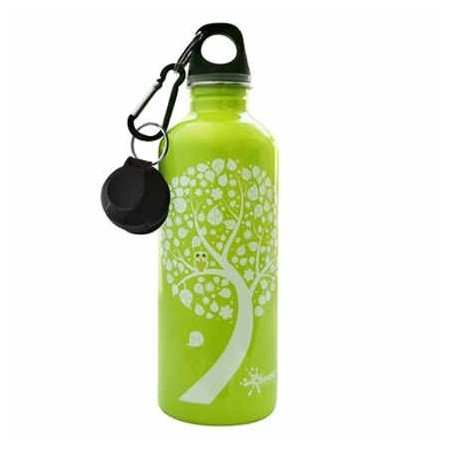 Cheeki 500ml Stainless Steel Water Bottle - green owl